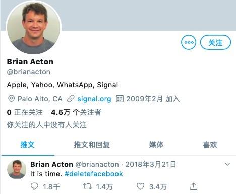 2018年初,Facebook因劍橋分析公司事件被指濫用平台用戶事件爆發後,Brian Acton突然在官方Twitter上發佈一條貼文,指:「It is time. #deletefacebook」