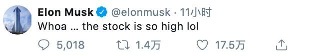 馬斯克難掩開心情緒,在個人推特(Twitter)上與粉絲開了一個「大麻玩笑」稱:「哇嗚,這個股價好high」。