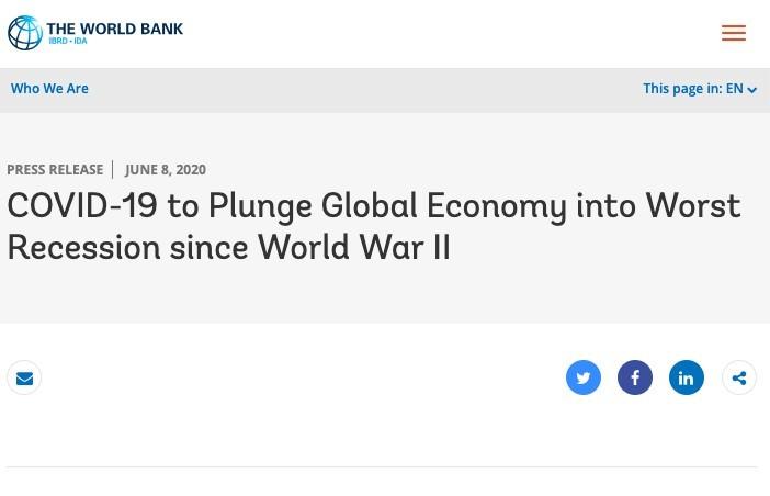 世銀預測,今年全球國內生產總值(GDP)將比去年萎縮5.2%,面臨二戰以來最嚴重崩跌。90%以上國家人均產出也將萎縮,全球或有7000萬至1億人跌入「極端貧困」水平。