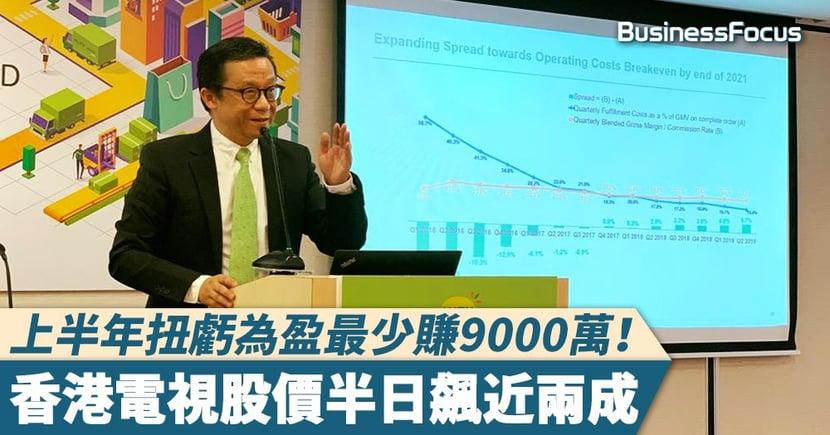 【港視股價】上半年扭虧為盈最少賺9000萬!香港電視股價半日飆近兩成