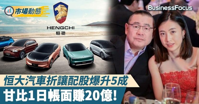 【恒大汽車甘比】恒大汽車折讓配股爆升5成   甘比1日帳面賺20億