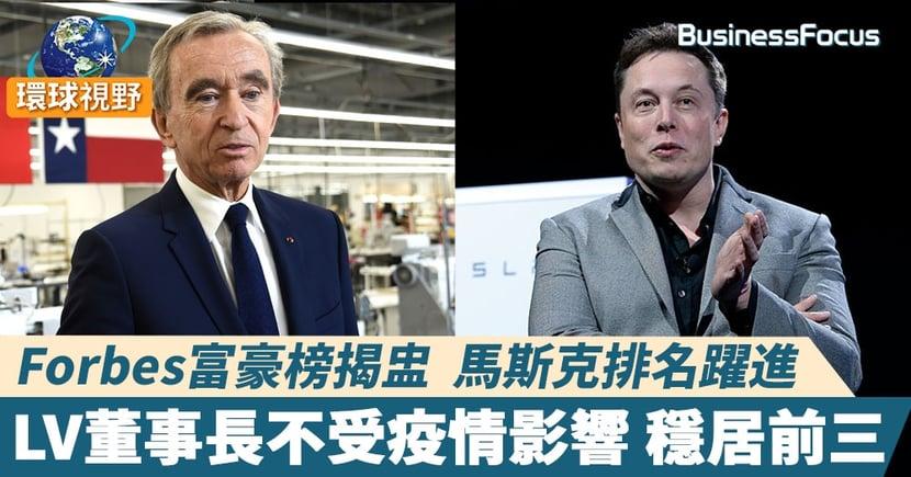 【福布斯富豪榜】馬斯克排名大躍進 1510億美元位居第二 奢侈品大亨阿爾諾穩守季軍