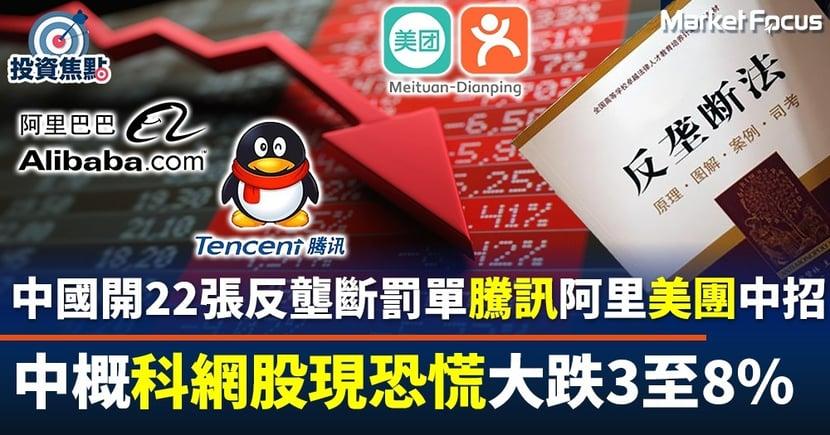 【滴滴惹禍】中國狂開22張反壟斷罰單 騰訊阿里美團齊中招 中概股集體大跌